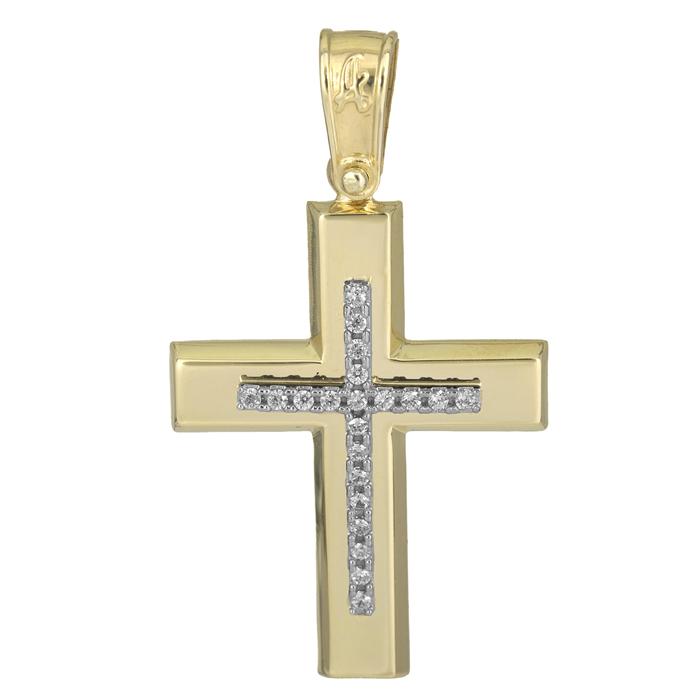 Σταυροί Βάπτισης - Αρραβώνα Κλασικός γυναικείος σταυρός 14Κ 025616 025616 Γυναικείο Χρυσός 14 Καράτια