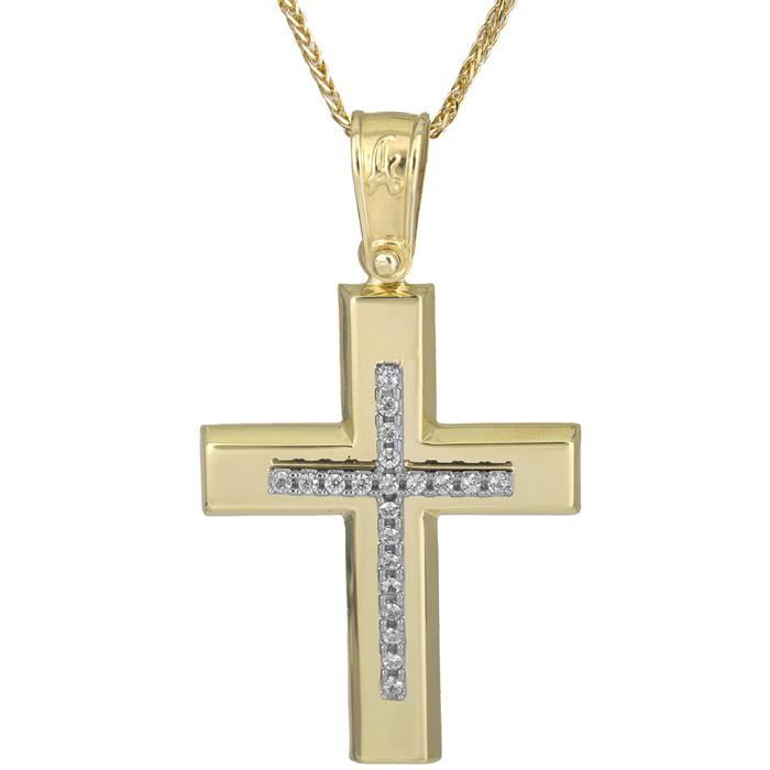 Βαπτιστικοί Σταυροί με Αλυσίδα Κλασικός σταυρός με αλυσίδα Κ14 025616C 025616C Γυναικείο Χρυσός 14 Καράτια