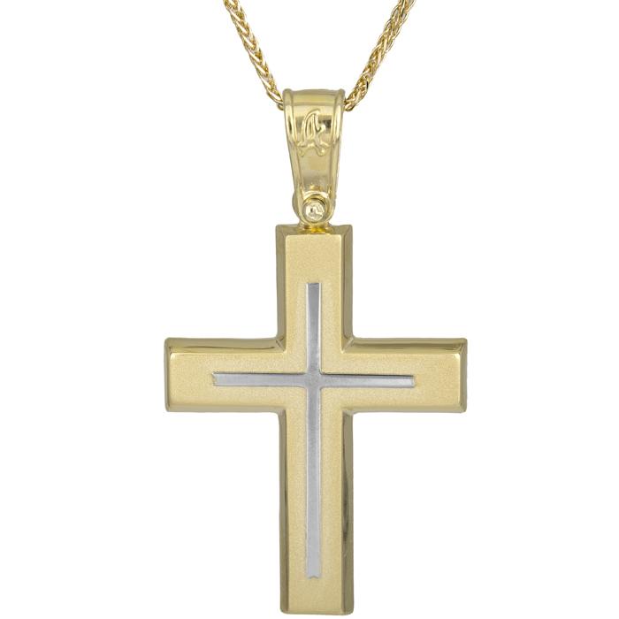 Βαπτιστικοί Σταυροί με Αλυσίδα Δίχρωμος αντρικός σταυρός Κ14 025617C 025617C Ανδρικό Χρυσός 14 Καράτια