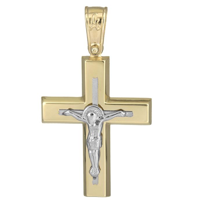 Σταυροί Βάπτισης - Αρραβώνα Σταυρός βάπτισης δίχρωμος Κ14 με τον Εσταυρωμένο 025619 025619 Ανδρικό Χρυσός 14 Καράτια