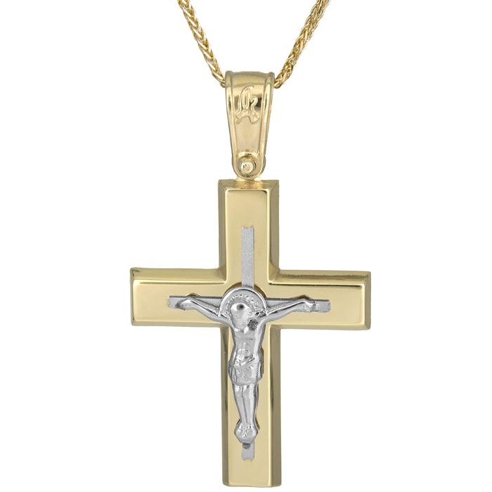 Βαπτιστικοί Σταυροί με Αλυσίδα Δίχρωμος ανδρικός σταυρός με τον Εσταυρωμένο σε αλυσίδα Κ14 025619C 025619C Ανδρικό Χρυσός 14 Καράτια
