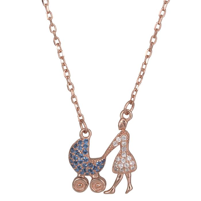 Ροζ επίχρυσο κολιέ 925 καροτσάκι με γαλάζια ζιργκόν 025628 025628 Ασήμι