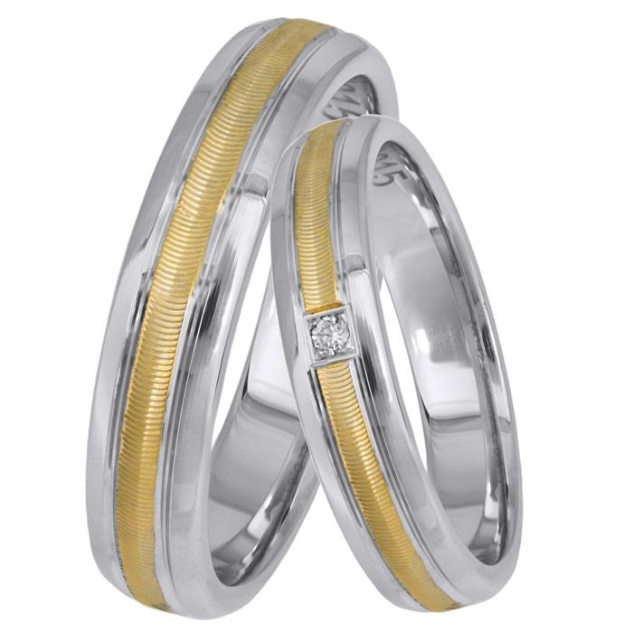 Δίχρωμες Βέρες με ζαγρέ λούκι Κ14 025638 025638 Χρυσός 14 Καράτια