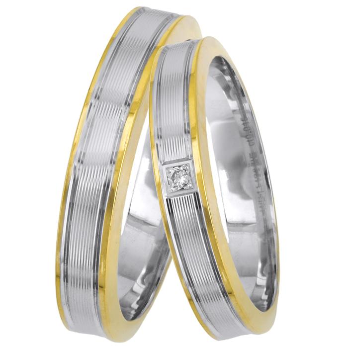 Δίχρωμες πλακέ βέρες με διαμαντάκι Κ14 025646 025646 Χρυσός 14 Καράτια