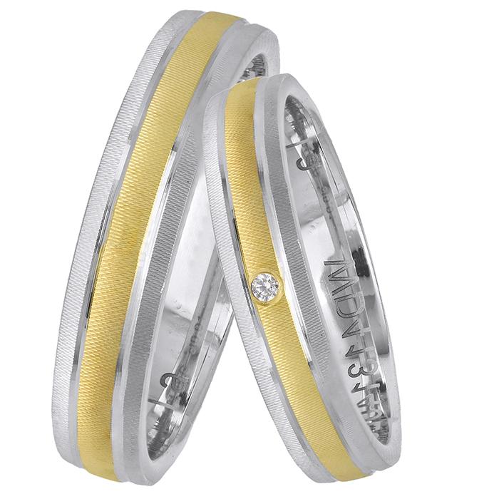 Ιταλικές βέρες γάμου με μπριγιαντάκι Κ14 025647 025647 Χρυσός 14 Καράτια