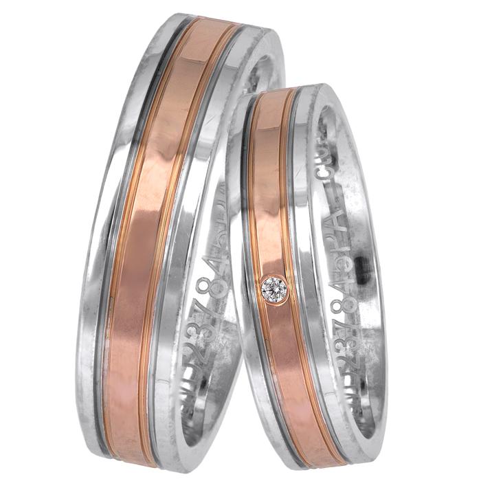 Δίχρωμες ιταλικές βέρες με ροζ gold Κ14 025649 025649 Χρυσός 14 Καράτια
