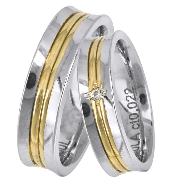 Δίχρωμες βέρες γάμου με μπριγιάν Κ14 025673 025673 Χρυσός 14 Καράτια