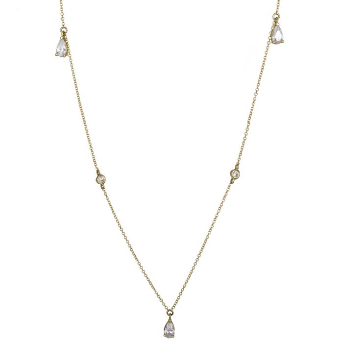 Γυναικείο χρυσό κολιέ 14Κ με ζιργκόν κρεμαστές πέτρες 025697 025697 Χρυσός 14 Καράτια