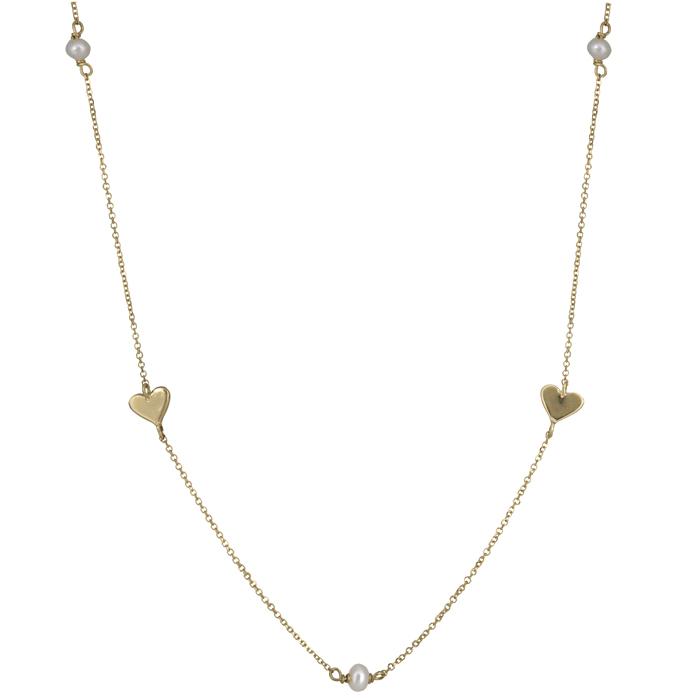 Χρυσό κολιέ με καρδούλες και μαργαριταράκια Κ14 025699 025699 Χρυσός 14 Καράτια