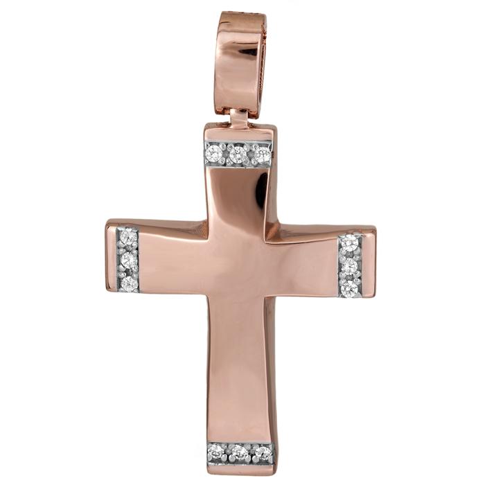 Σταυροί Βάπτισης - Αρραβώνα Ροζ gold γυναικείος σταυρός Κ14 025712 025712 Γυναικείο Χρυσός 14 Καράτια