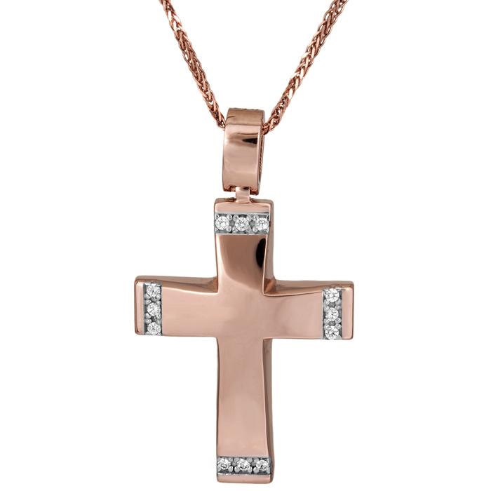 Βαπτιστικοί Σταυροί με Αλυσίδα Κλασσικός ροζ gold σταυρός 14Κ με αλυσίδα 025712C 025712C Γυναικείο Χρυσός 14 Καράτια