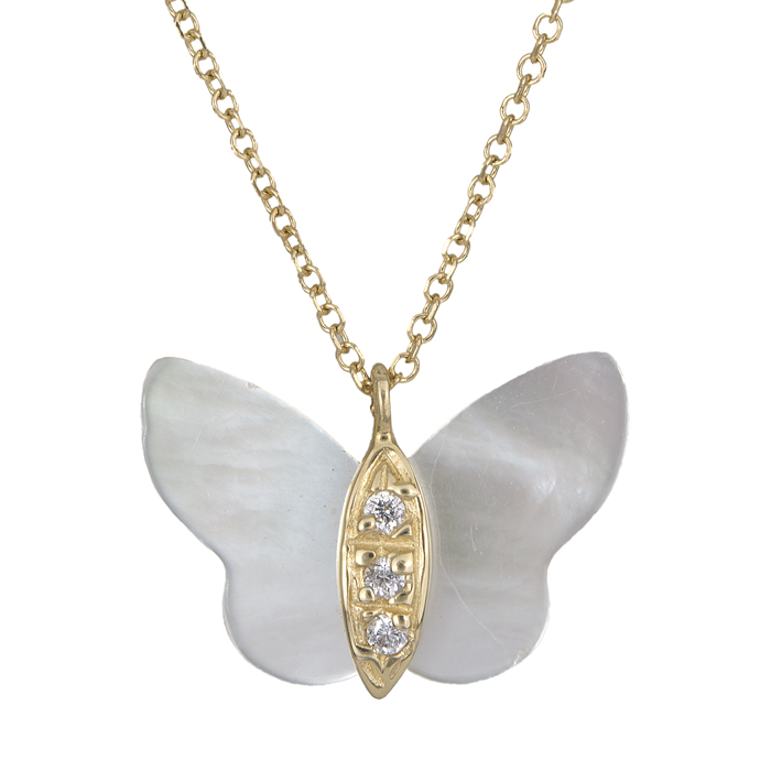Κολιέ με πεταλούδα φίλντισι χρυσό Κ14 025718 025718 Χρυσός 14 Καράτια