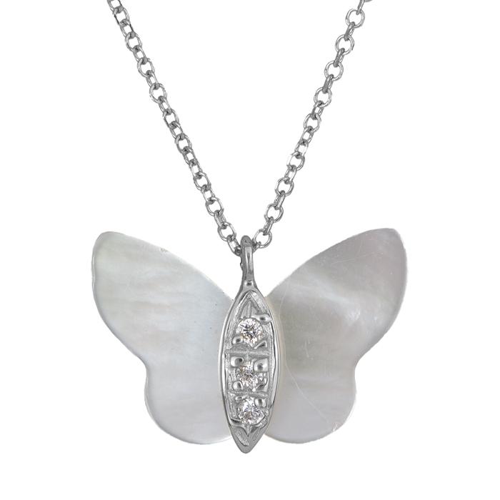 Λευκόχρυσο κολιέ με φίλντισι πεταλούδα Κ14 025719 025719 Χρυσός 14 Καράτια