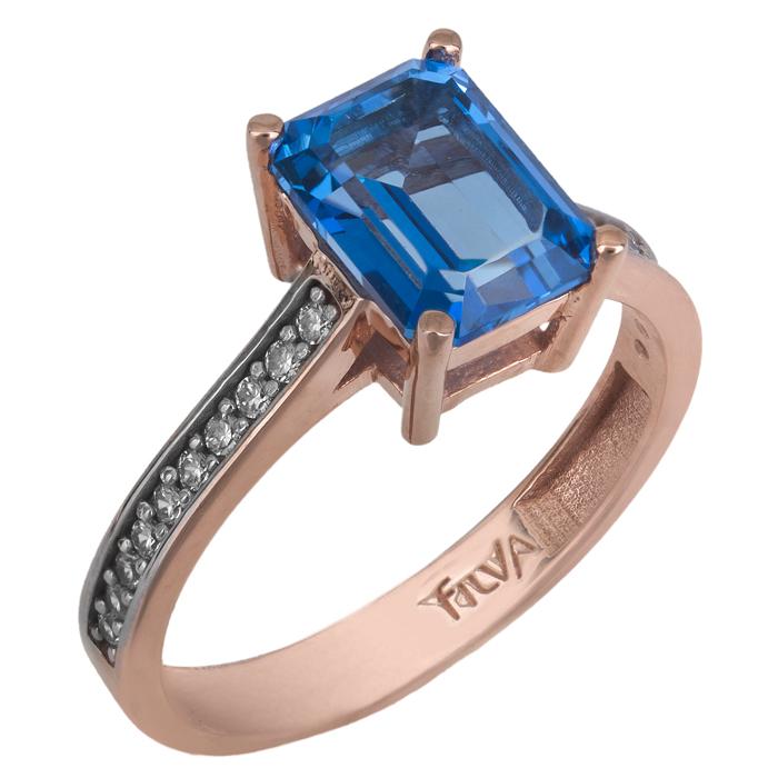 Ροζ gold δαχτυλίδι swarovski Κ14 με μπλε topaz 025738 025738 Χρυσός 14 Καράτια