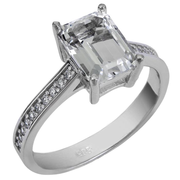 Μονόπετρο λευκόχρυσο Κ14 με ημιπολύτιμες πέτρες 025739 025739 Χρυσός 14 Καράτια