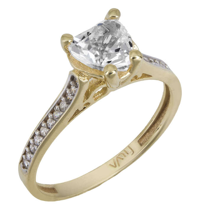 Μονόπετρο swarovski καρδιά χρυσό Κ14 με ορυκτές πέτρες 025744 025744 Χρυσός 14 Καράτια