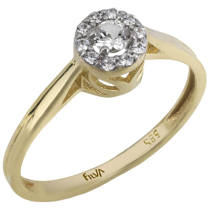 Μονόπετρο swarovski με ορυκτές πέτρες Κ14 025754 025754 Χρυσός 14 Καράτια