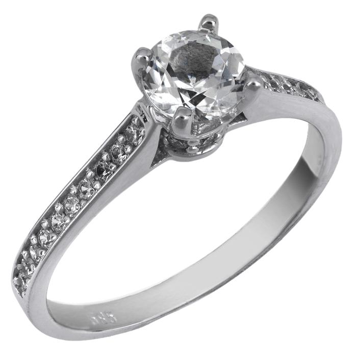 Λευκόχρυσο δαχτυλίδι Κ14 με πέτρες swarovski 025755 025755 Χρυσός 14 Καράτια