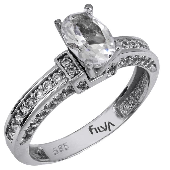 Χειροποίητο δαχτυλίδι με swarovski λευκόχρυσο Κ14 025756 025756 Χρυσός 14 Καράτια