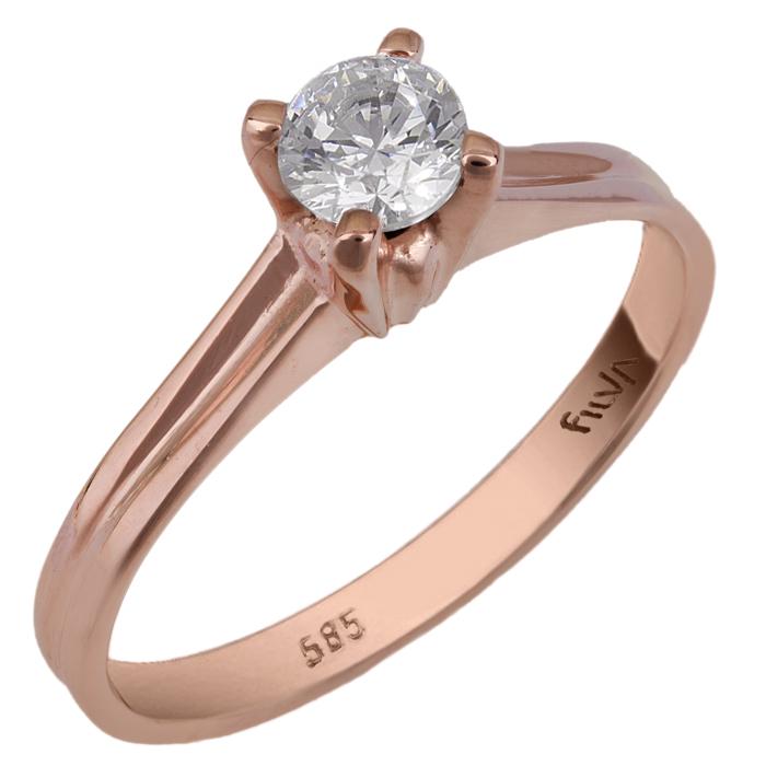 Ροζ gold μονόπετρο Swarovski Κ14 025759 025759 Χρυσός 14 Καράτια