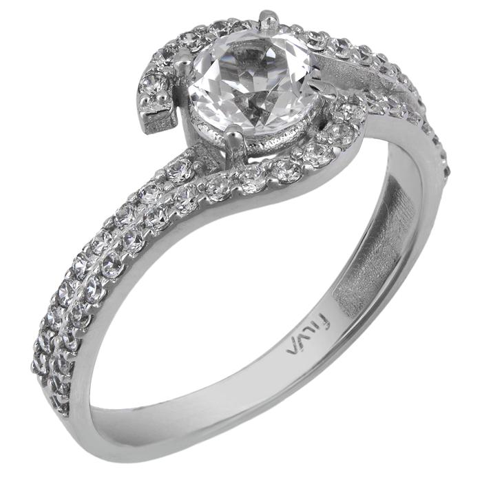 Λευκόχρυσο δαχτυλίδι Κ14 με πέτρες swarovski χειροποίητο 025763 025763 Χρυσός 14 Καράτια