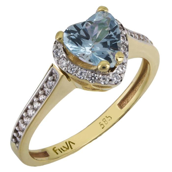 Χρυσό δαχτυλίδι καρδιά swarovski Κ14 με ορυκτές πέτρες 025768 025768 Χρυσός 14 Καράτια