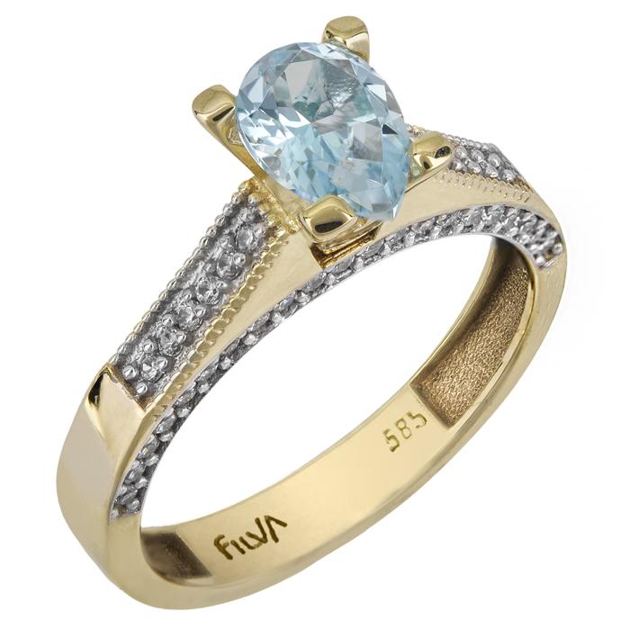 Μονόπετρο χρυσό δαχτυλίδι Κ14 με τυρκουάζ swarovski 025770 0...