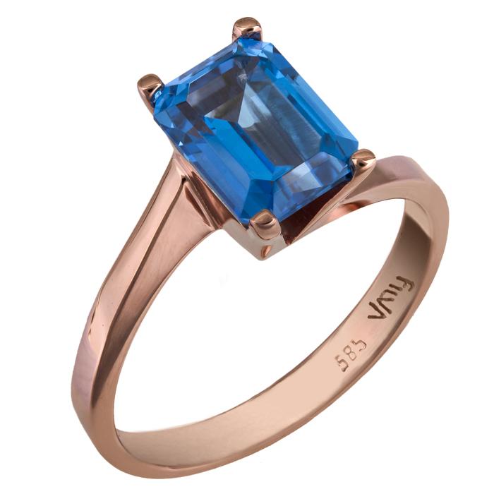 Ροζ χρυσό δαχτυλίδι swarovski Κ14 με μπλε topaz 025773 025773 Χρυσός 14 Καράτια