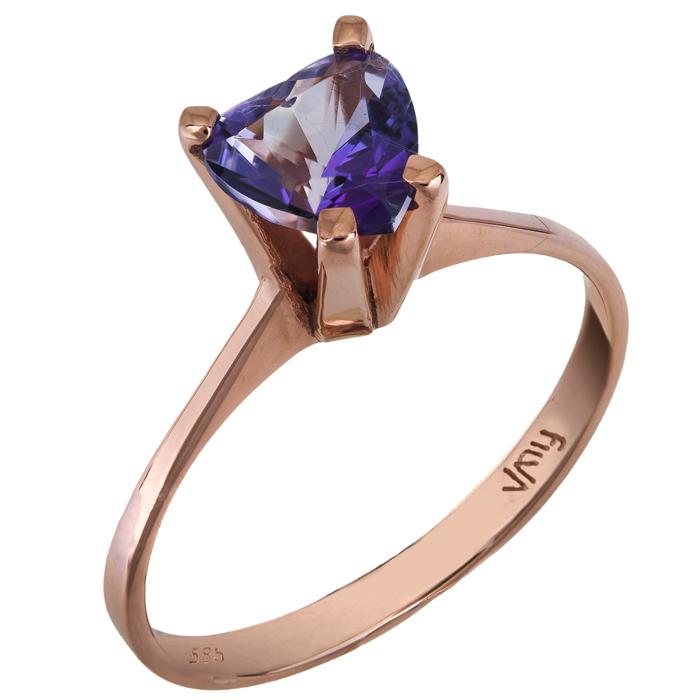 Ροζ gold μονόπετρο K14 με μωβ πέτρα καρδιά swarovski 025779 025779 Χρυσός 14 Καράτια