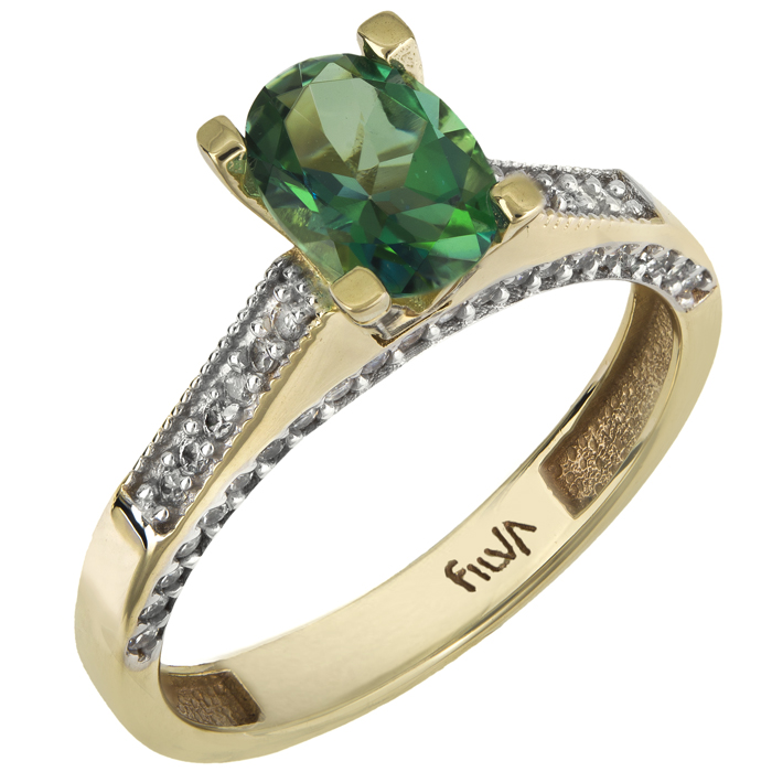 Χρυσό δαχτυλίδι swarovski Κ14 με πράσινη ορυκτή πέτρα 025781 025781 Χρυσός 14 Καράτια