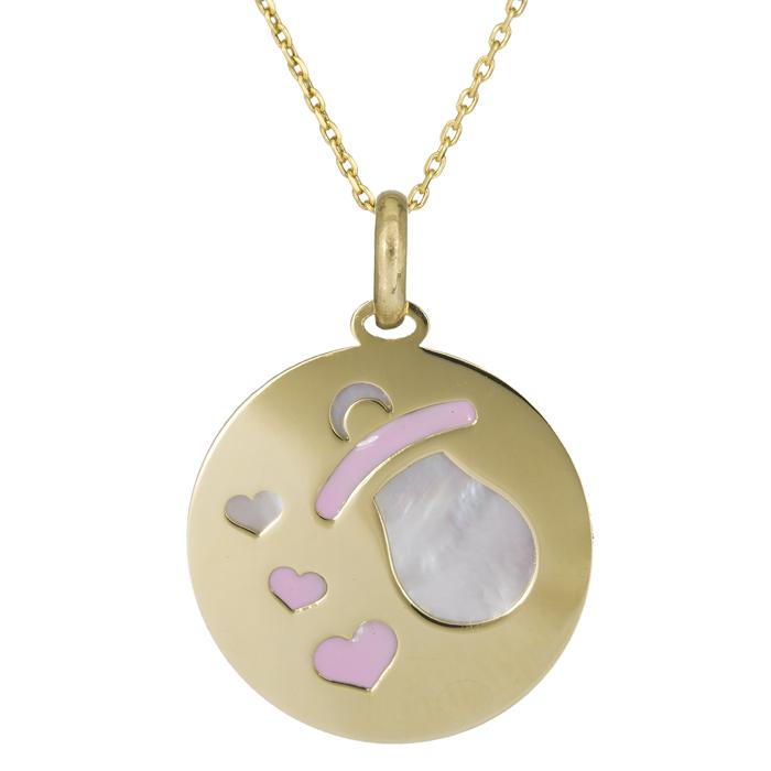 Χρυσό κολιέ Κ14 δίσκος με πιπίλα και καρδούλες 025785C 025785C Χρυσός 14 Καράτια