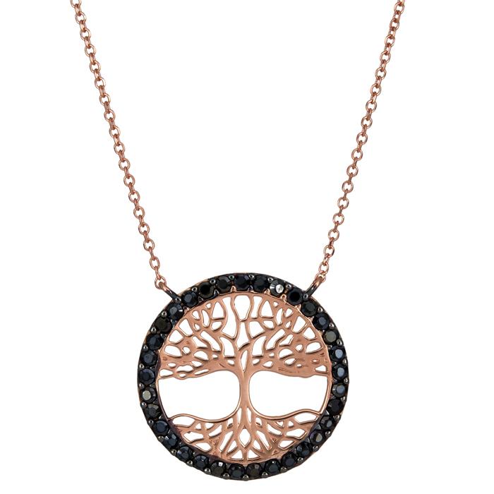Ροζ gold κολιέ Κ14 δέντρο της ζωής με μαύρα ζιργκόν 025788 025788 Χρυσός 14 Καράτια