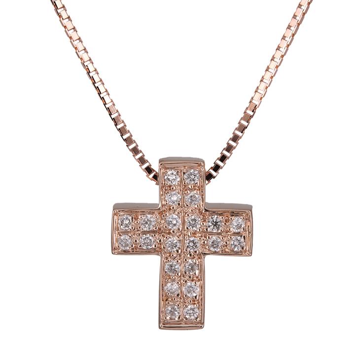 Βαπτιστικοί Σταυροί με Αλυσίδα Γυναικείος σταυρός ροζ gold Κ18 026076 026076 Γυναικείο Χρυσός 18 Καράτια