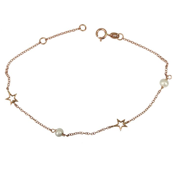 Ροζ gold βραχιόλι Κ14 με αστεράκια και μαργαριτάρια 025819 025819 Χρυσός 14 Καράτια
