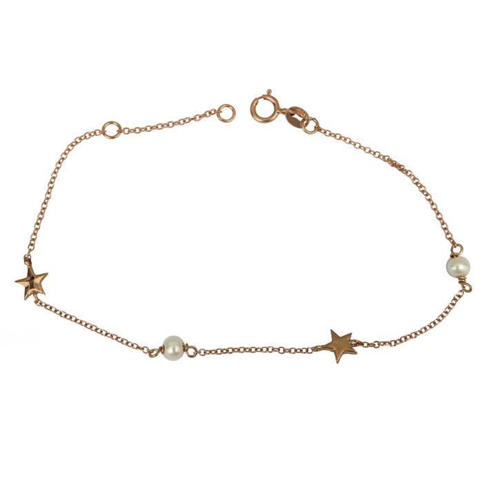 Βραχιόλι ροζ gold Κ14 με μαργαριτάρια και αστεράκια 025820 025820 Χρυσός 14 Καράτια