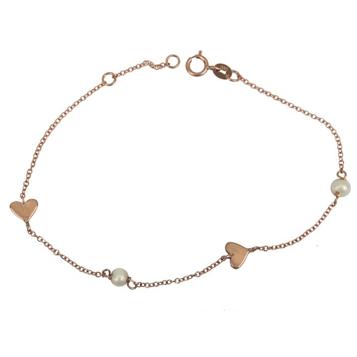 Bραχιόλι με καρδούλες και μαργαριτάρια ροζ gold Κ14 025821 025821 Χρυσός 14 Καράτια