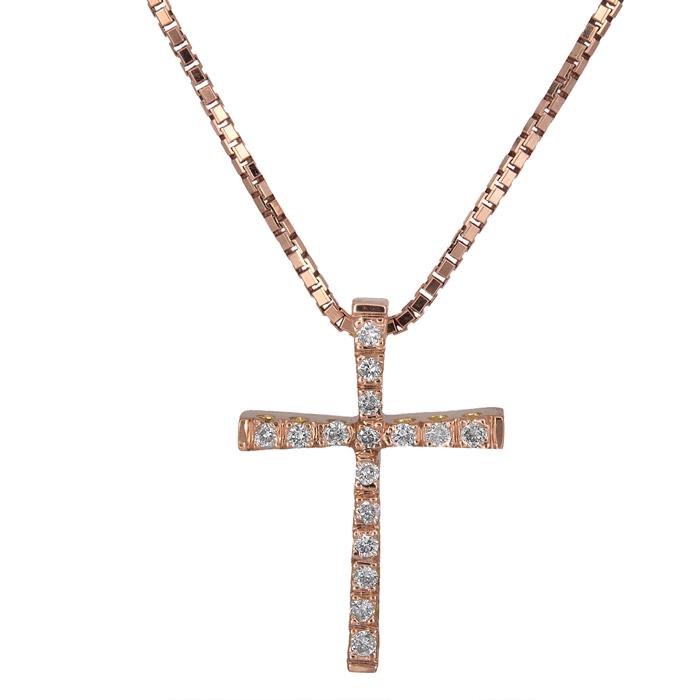 Βαπτιστικοί Σταυροί με Αλυσίδα Ροζ gold γυναικείος σταυρός Κ18 025825 025825 Γυναικείο Χρυσός 18 Καράτια