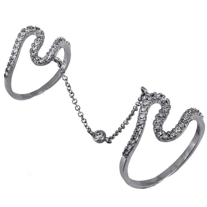 Λευκόχρυσο διπλό δαχτυλίδι με αλυσίδα 14K 025827 025827 Χρυσός 14 Καράτια