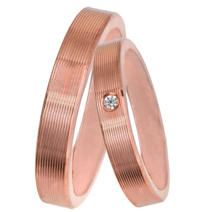 Ροζ gold βέρες γραμμωτές Κ14 με διαμάντι 025828 025828 Χρυσός 14 Καράτια μεμονωμένο τεμάχιο