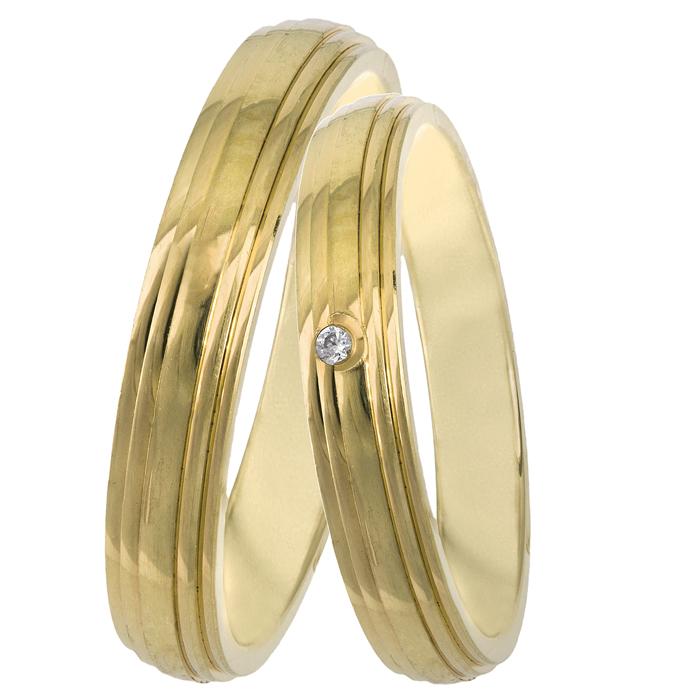 Χρυσές βέρες με διαμάντι Κ14 025836 025836 Χρυσός 14 Καράτια