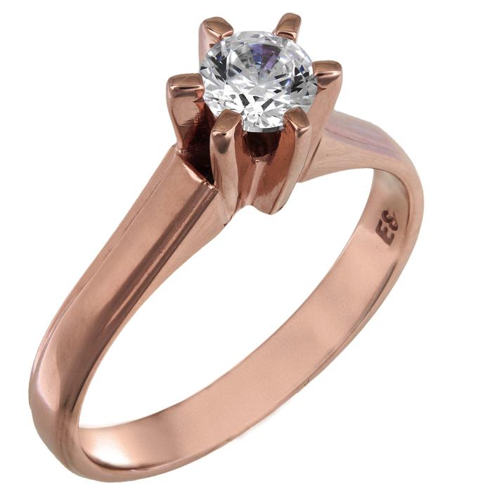 Ροζ gold μονόπετρο δαχτυλίδι swarovski Κ14 025843 025843 Χρυσός 14 Καράτια
