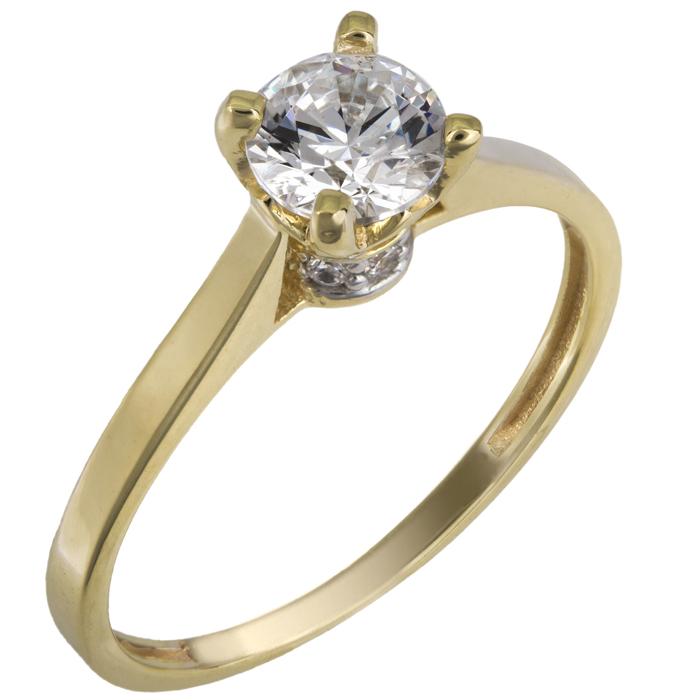 Μονόπετρο χρυσό δαχτυλίδι Κ14 με swarovski 025844 025844 Χρυσός 14 Καράτια