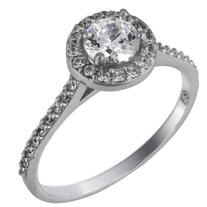 Λευκόχρυσο swarovski μονόπετρο δαχτυλίδι Κ14 025845 025845 Χρυσός 14 Καράτια