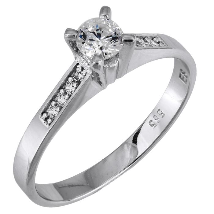 Λευκόχρυσο δαχτυλίδι Swarovski Κ14 με πλαϊνές πέτρες 025849 025849 Χρυσός 14 Καράτια