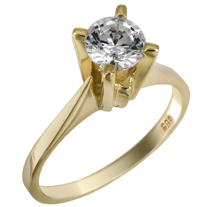 Χρυσό μονόπετρο πρότασης γάμου Κ14 025852 025852 Χρυσός 14 Καράτια
