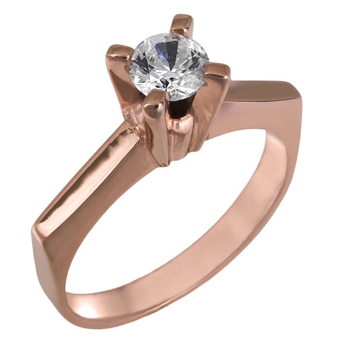 Ροζ gold δαχτυλίδι Κ14 με πέτρα swarovski 025854 025854 Χρυσός 14 Καράτια