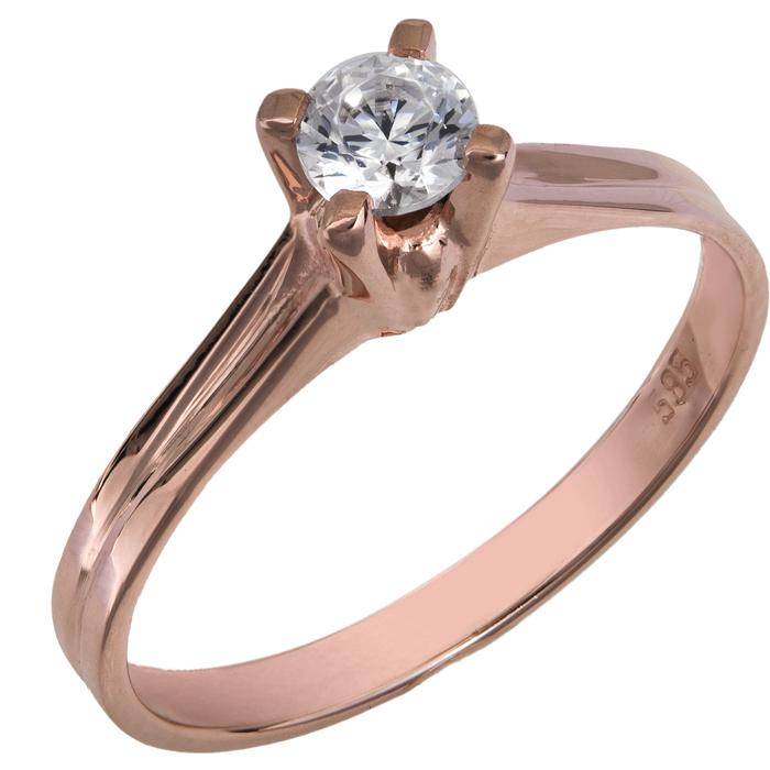 Μονόπετρο swarovski ροζ χρυσό Κ14 χειροποίητο 025856 025856 Χρυσός 14 Καράτια