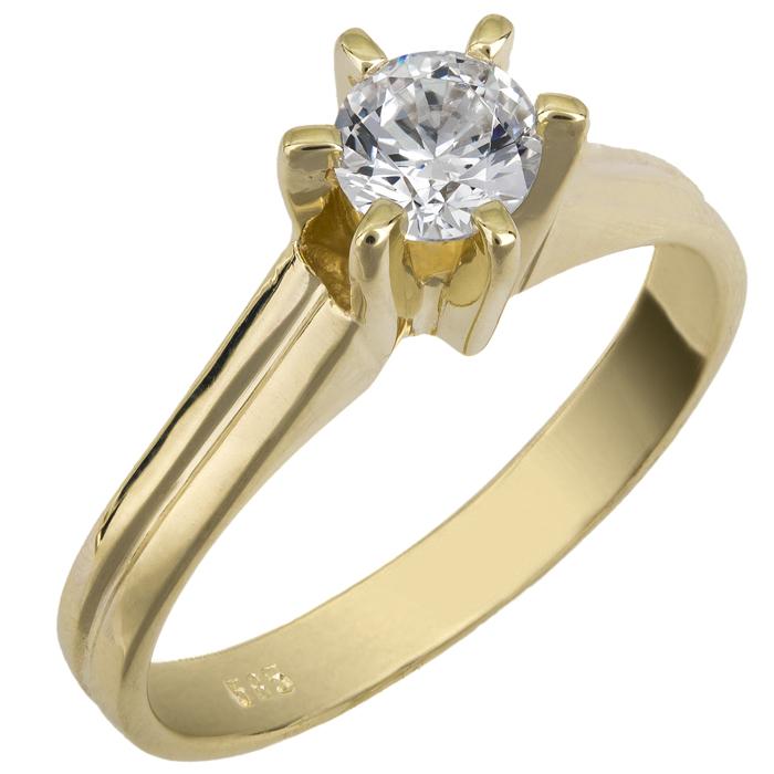 Μονόπετρο swarovski χρυσό Κ14 025858 025858 Χρυσός 14 Καράτια