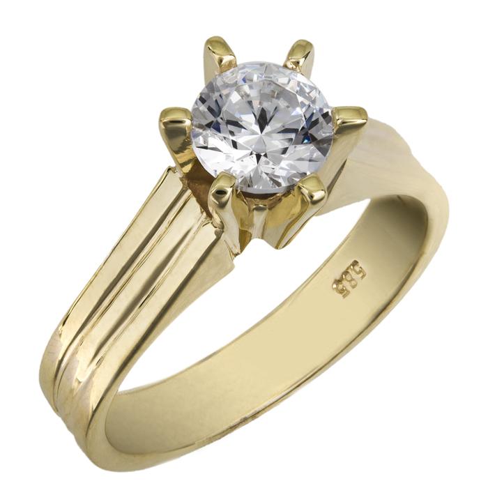 Χρυσό μονόπετρο swarovski Κ14 χειροποίητο 025859 025859 Χρυσός 14 Καράτια
