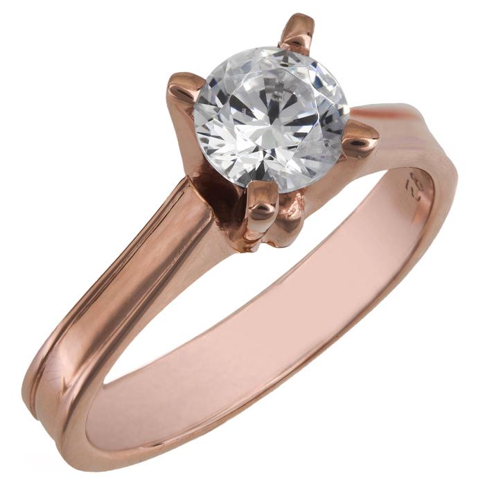 Μονόπετρο swarovski για πρόταση γάμου ροζ gold Κ14 025862 025862 Χρυσός 14 Καράτια